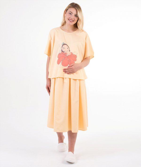 anneliğe doğuş sarı doğum elbisesi