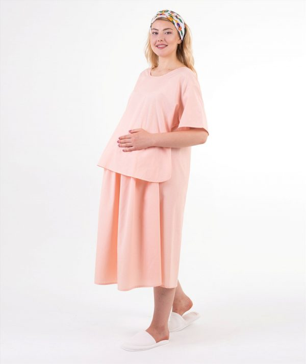 turuncu çizgili doğum elbisesi