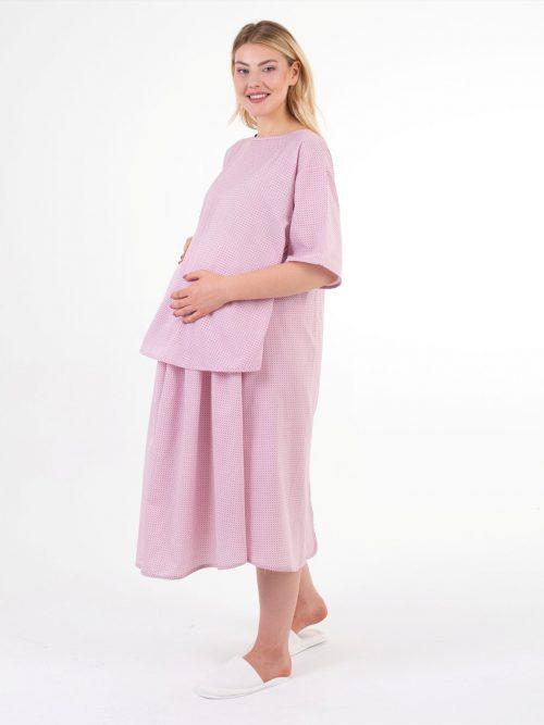 geometrik desenli doğum elbisesi