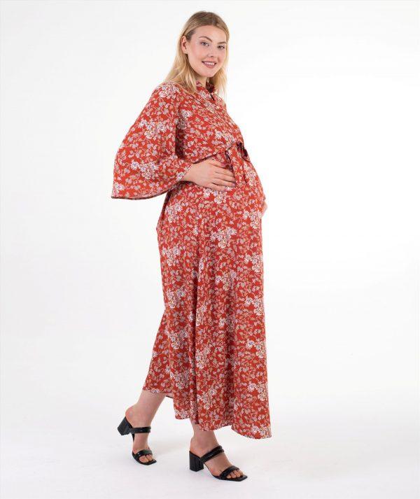 kiremit rengi hamile elbise