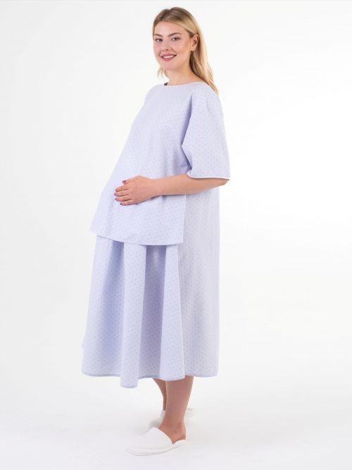 mavi puantiyeli doğum elbisesi
