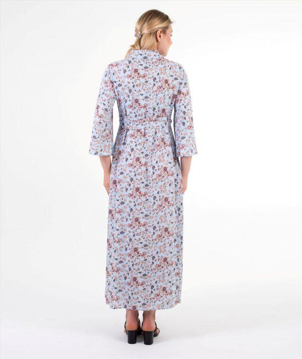 nergis mavi çiçekli doğum elbisesi