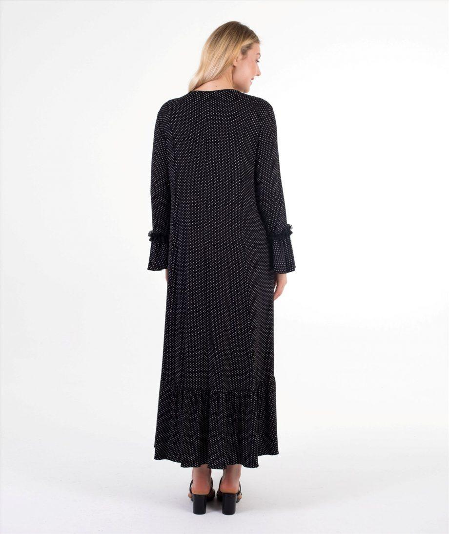 nilüfer siyah puantiyeli hamile emzirme elbisesi