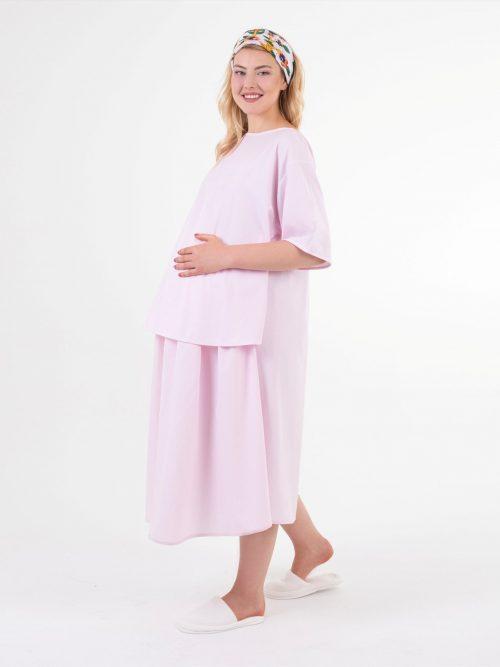 Pembe Çizgili Doğum Elbisesi
