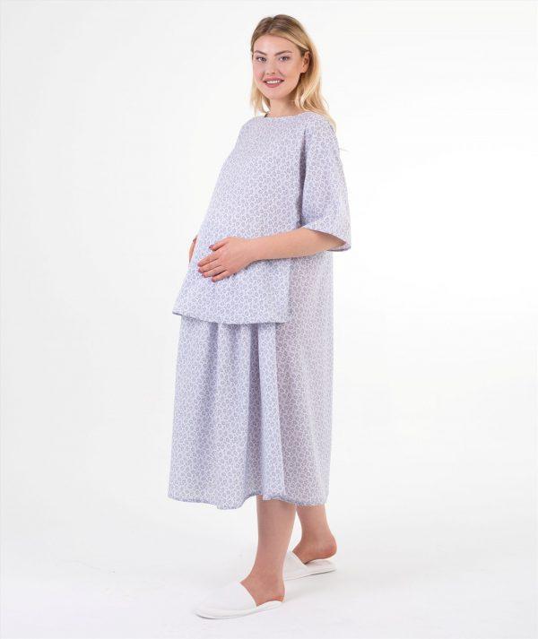 sal desenli doğum elbisesi