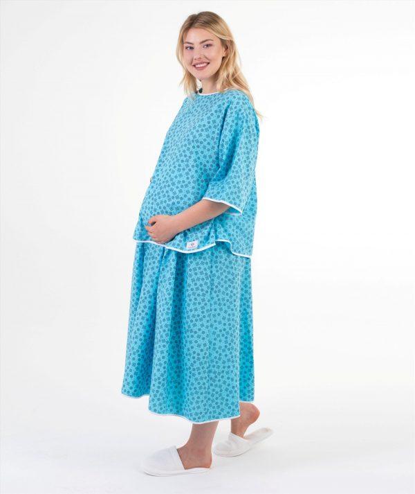 mavi geometrik desenli doğum elbisesi