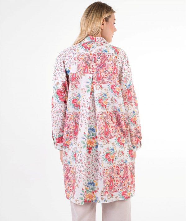 pembe çiçekli hamile gömleği