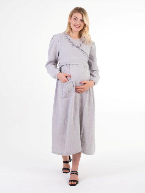 yasemin serisi gri uzun hamile elbisesi