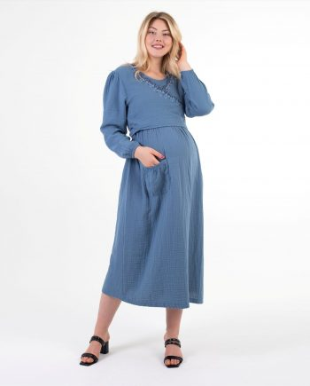 yasemin serisi indigo uzun hamile elbisesi