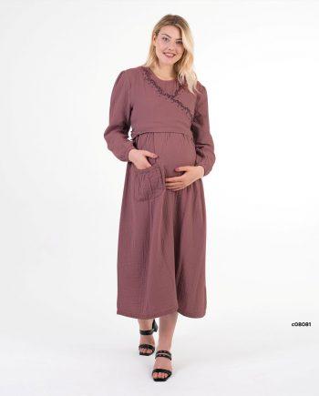 yasemin serisi gül kurusu uzun hamile elbisesi